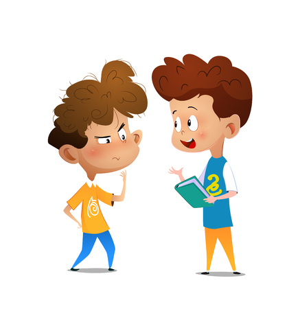 Kids discussing literature. Cartoon vector illustration for banner, poster. Illustration