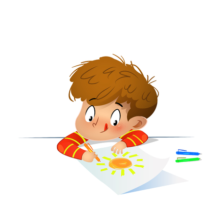 Young drawing with colored wax crayons on a list of paper with a look of concentration. Vector illustration