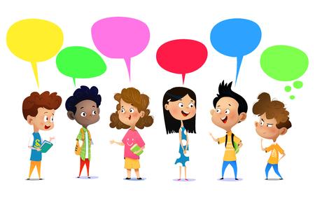 행복한 학교 아이들이 무언가에 대해 이야기하고 있습니다. 만화 벡터 일러스트 레이 션