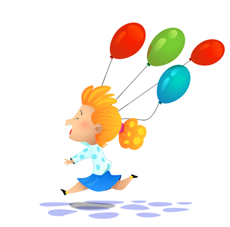 Young cartoon girl colored balloons. Cartoon vector illustration