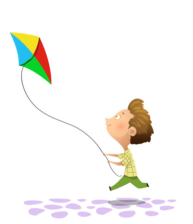 Vector Illustration Of Kid Playing Kite. Cartoon Illustration