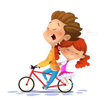 Boy with girl riding a bike. Cartoon vector illustration