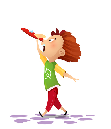 Happy kid playing with toy airplane on white background. Vector cartoon Illustration