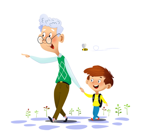 Grandfather walks with his grandson and talking to him and and points at something away from them. Grandfathers love and care. Vector illustration on white background.