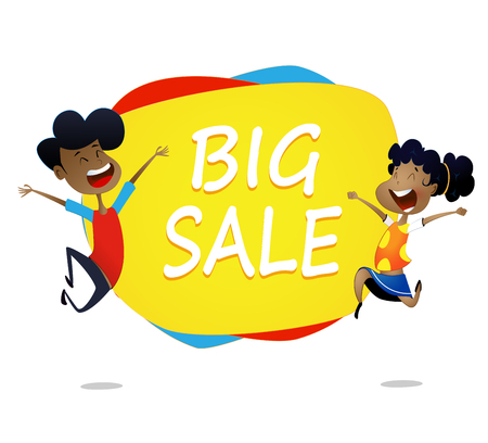 Two cartoon kids jump near banner big sale .Vector horizontal banner with cartoon children.