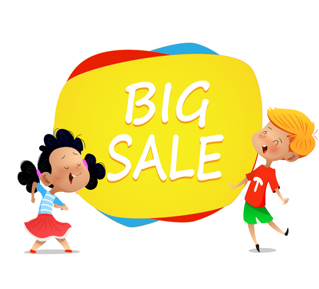 Two cartoon kids dance near banner big sale .Vector horizontal banner with cartoon children. Illustration