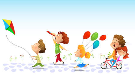 Children running and playing, Friendship children graphic. Vector