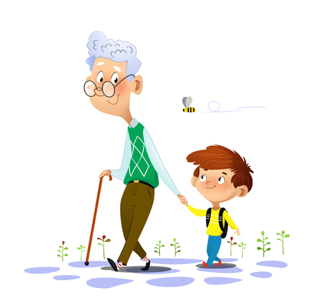 Grandfather walks with his grandson and talking to him. Grandfathers love and care. Vector illustration on white background.