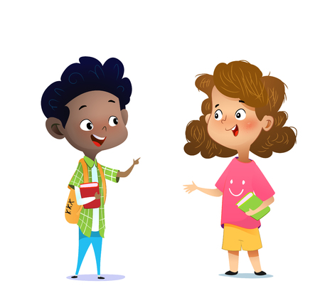 Two multiracial children studying, reading books and discuss them. Cartoon vector illustration