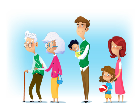 Big family together. Mother and father with babies, children and grandparents. Vector