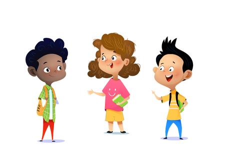 Trois enfants discutent d'un devoir scolaire. Illustration vectorielle de dessin animé pour bannière, affiche.