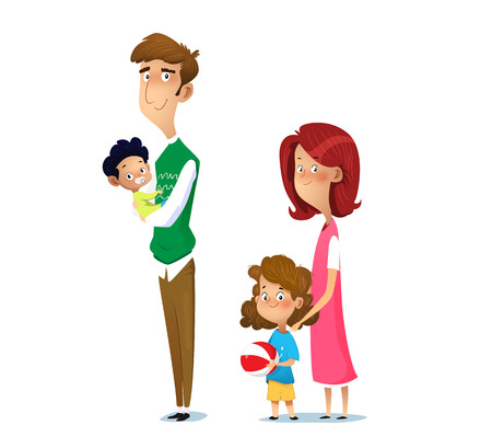 Happy family. Father, mother, son and daughter together. Vector cartoon illustration