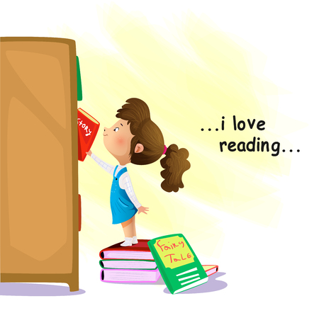 Cartoon little girl searching for a book in bookstore. I love reading concept. Vector