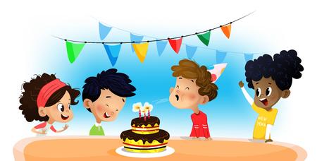 Feliz grupo de niños divirtiéndose en la fiesta de cumpleaños. Dibujos animados de vector