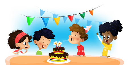 Happy group of children having fun at birthday party. Vector cartoon Illustration