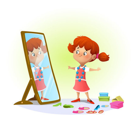 Cute little girl looking in the mirror trying on big shoes. Vector illustration.