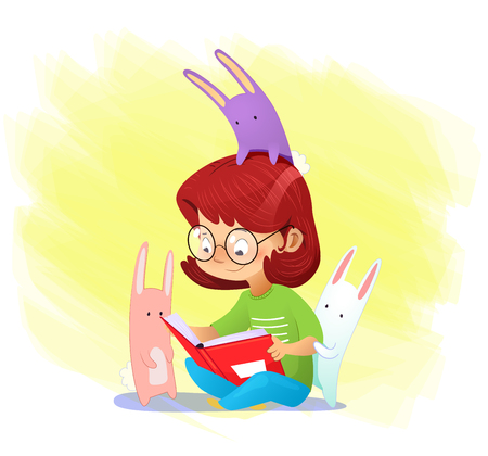 Happy cartoon girl reading book with her friends. Vector 向量圖像