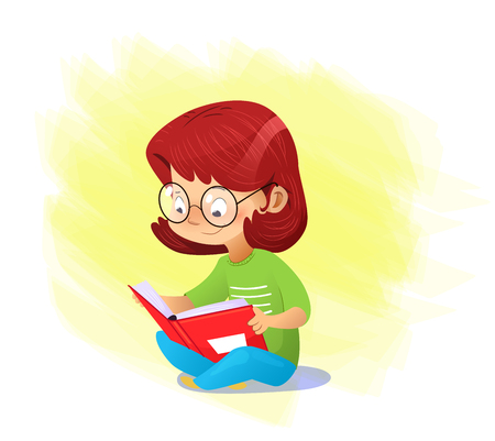 Happy cartoon girl reading book alone. Vector