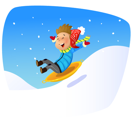 Cartoon kid rolling down the mountain slope on sled. Vector illustration.