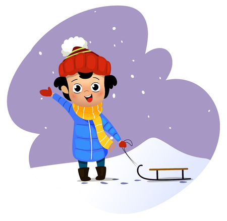 Cartoon boy carries a sled. Vector illustration