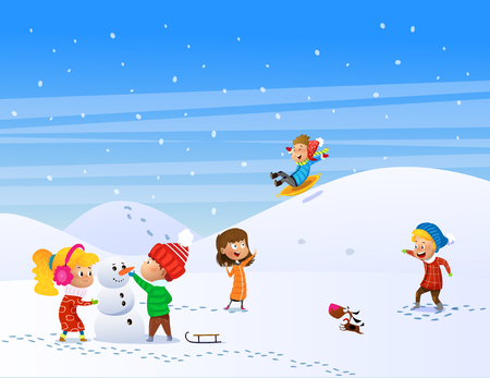 Children playing outdoors in winter. Play snow fun. Cartoon vector illustration Ilustrace