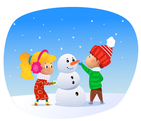 Vector Illustration of cartoon kids making snowman. Cartoon