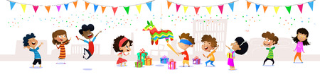 Happy group of cartoon children having fun at birthday party. Seamless childrens panorama for your design. Template for advertising brochure. Vector