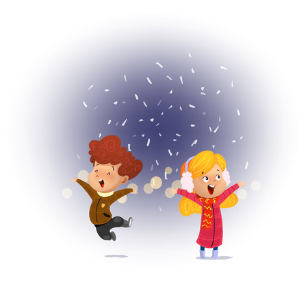 Children looking first snow falling.Cartoon vector illustration