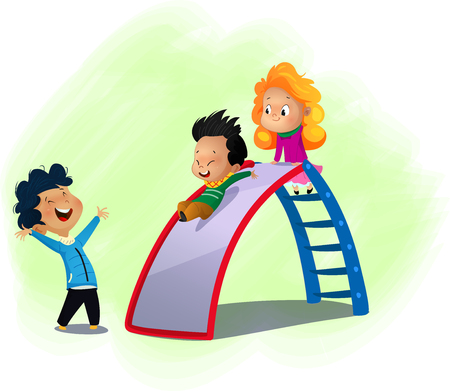 ????? little children playing on a slide at a playground. Cartoon vector illustration