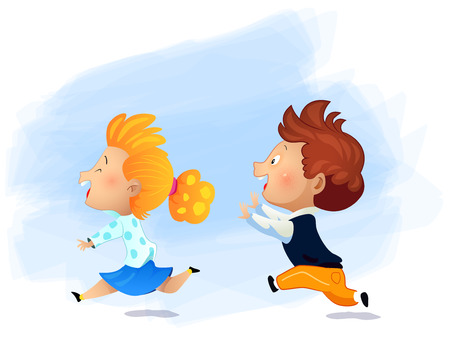 Preschool girl running fast and play catch-up and tag game. Cartoon vector illustration Ilustrace