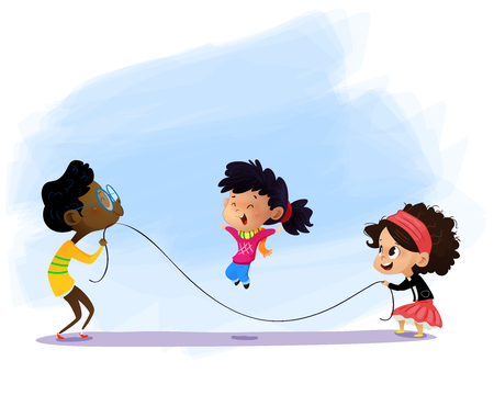 Children playing jumping rope. Cartoon vector illustration