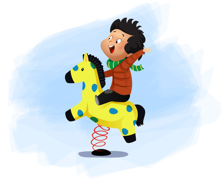 Little boy is sitting on a horse swing.Vector cartoon illustration Ilustrace