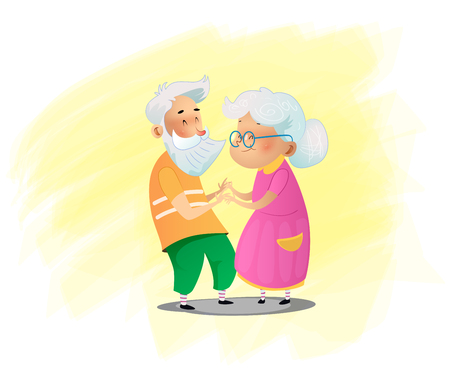 Romantic couple grandparents are standing next to each other. Cartoon vector illustration