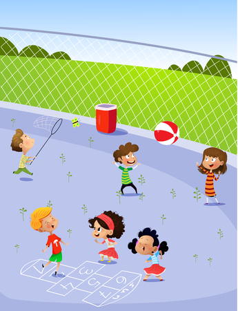 Children playing in the playground. Cartoon vector illustration