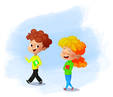 Vector Illustration of school children discussing some books.