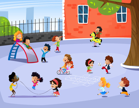 Vector illustration of happy children playing in playground on spring day. Cartoon Ilustrace