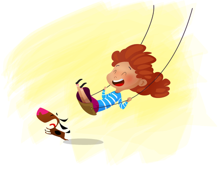 Vector illustration of cartoon girl swinging on swing. Cartoon
