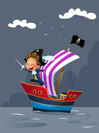 Cartoon kid in pirate dress on ship in the sea illustration. Cartoon vector Illustration