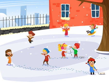 Cute children playing. Winter childs outdoor activities. Happy childhood. Vector cartoon illustration