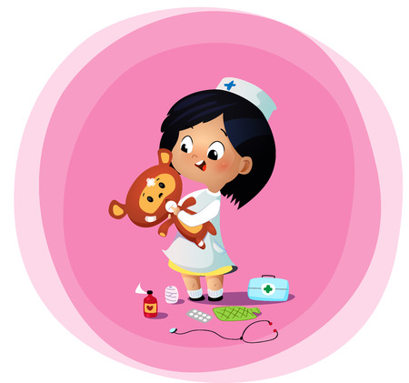 Cute little girl plays doctor with toy bear. Cartoon vector illustration