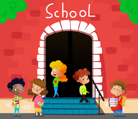 Happy school kids go to school. Cartoon vector illustration
