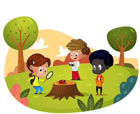 Happy walking in the city park. Vector illustration in cartoon style Ilustrace