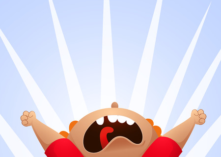 Cartoon illustration of screaming child. Vector illustration