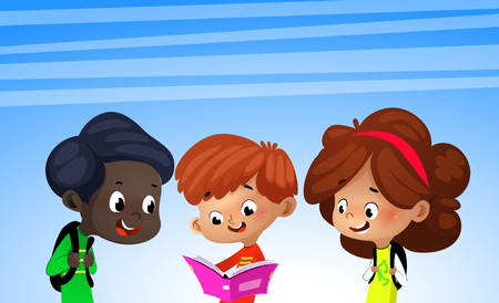 Group of cartoon kids reading books, vector illustration