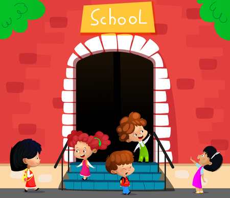 Vector illustration of school children going to school building