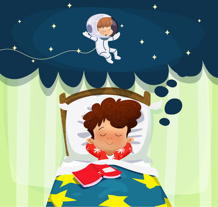 Young science learner kid. Boy dreaming about future profession. Cartoon vector illustration Ilustrace