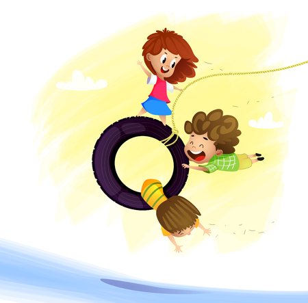 Playing kids. Three friends play outside. Cartoon vector illustration