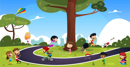 Many cartoon children play in the summer park. Illustration of happy kids playing in playground.Vector set with children. Ilustrace
