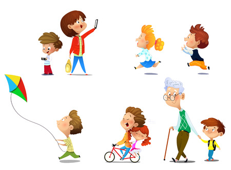 Kids playing in active games and just spending their time. Vector illustrations of funny children set.