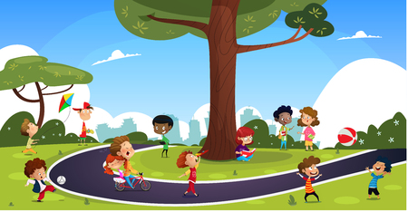 Many cartoon children play in the summer park. Illustration of happy kids playing in playground.Vector set with children. Illustration